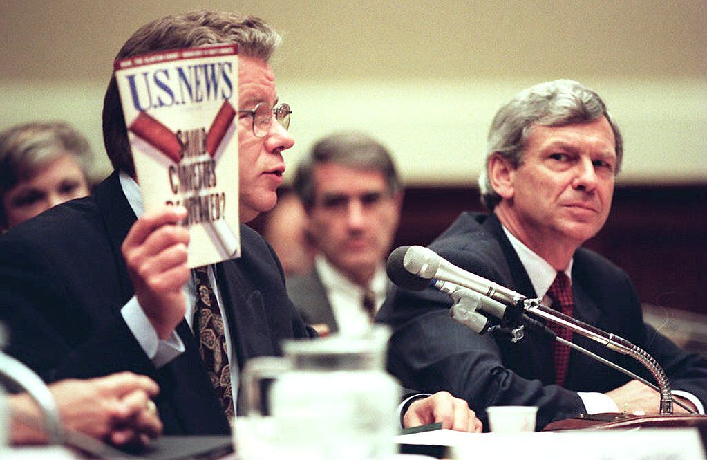 James Johnston, then-chairman and chief executive of R.J. Reynolds Tobacco Company, holds up a recent copy of U.S. News and World Report.