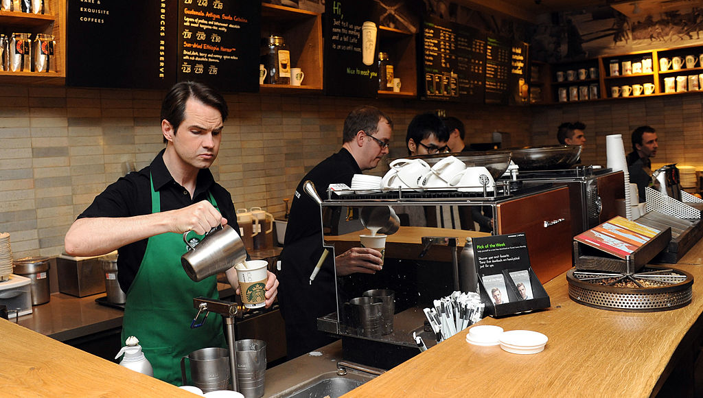 starbucks workers behind the counter