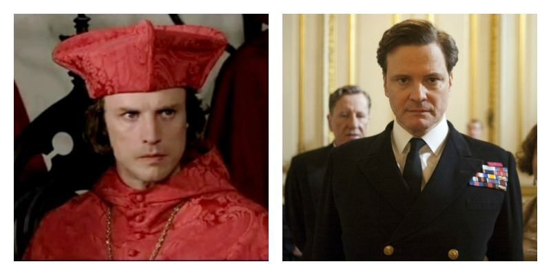 This is a side by side photo of Jonathan Firth dressed as a cardinal and Colin Firth dressed in a suit.