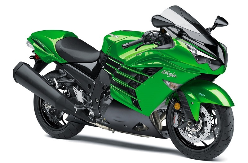 View of lime green Kawasaki Ninja ZX 14R