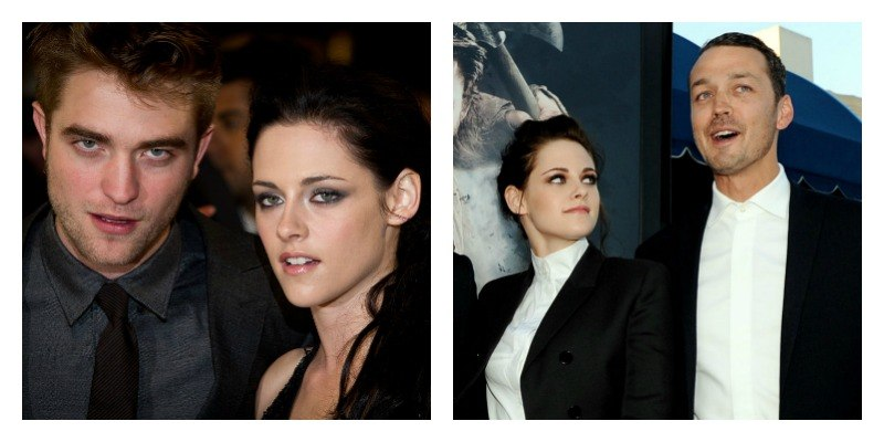 On the right is a picture of Robert Pattinson and Kristen Stewart. On the right is Kristen Stewart looking back at Rupert Sanders on the red carpet.
