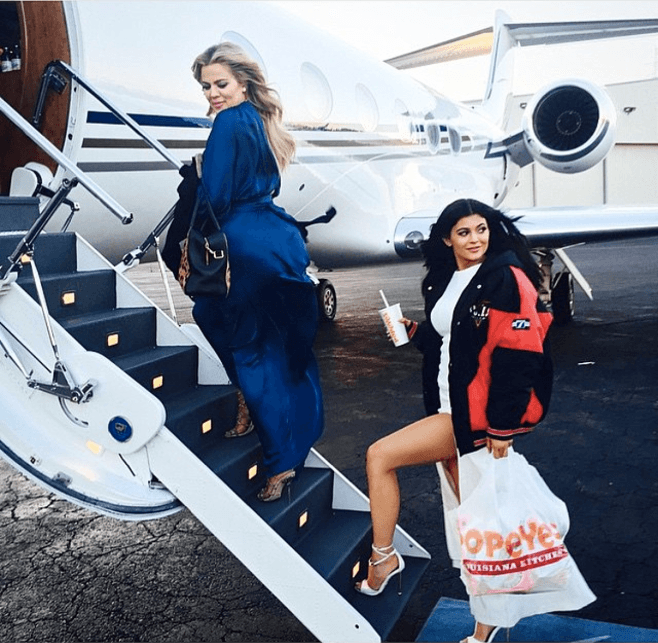 Kylie Jenner with Popeye's bag
