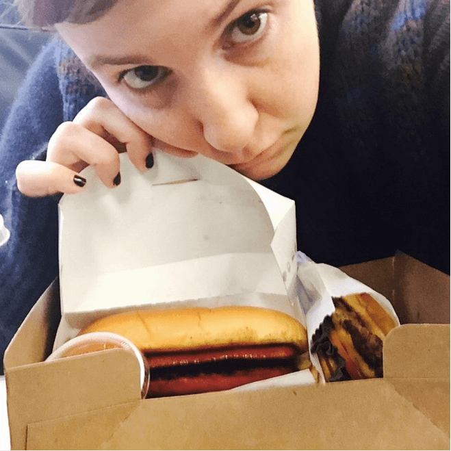 Lena Dunham with Shake Shack