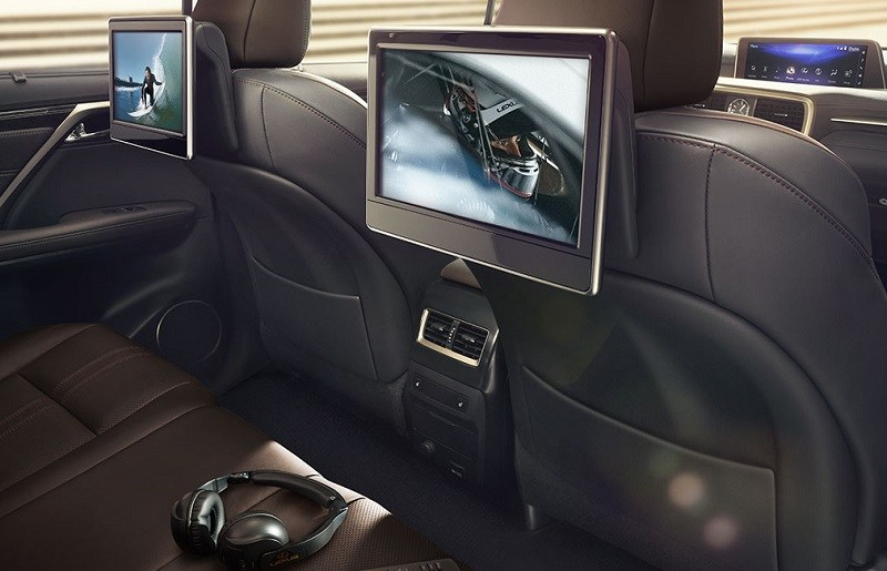 View of back seat entertainment system in Lexus RX crossover