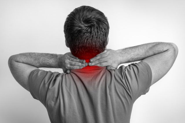 Man with pain in his neck.