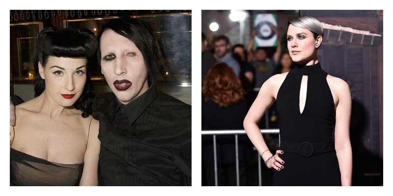 On the left Marilyn Manson and Dita Von Teese pose together in a booth. On the right Evan Rachel Wood poses in a black dress.