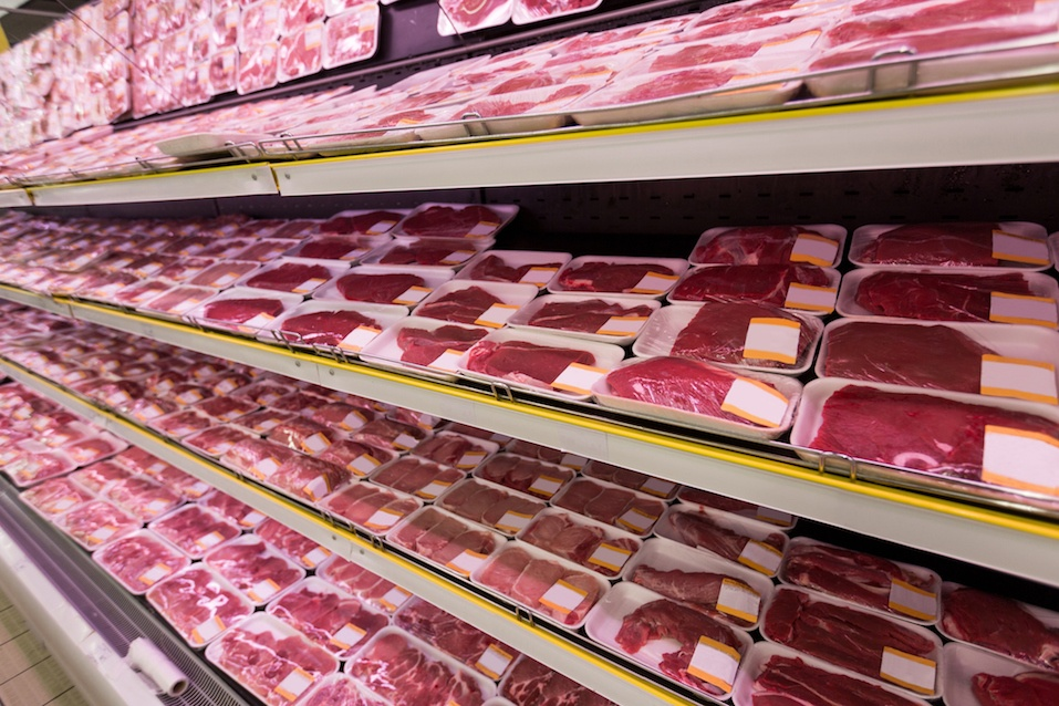 meat section at supermarket