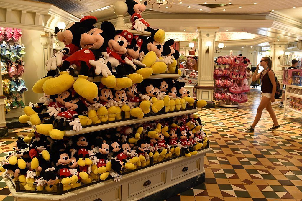 Mickey and Minnie Mouse stuffed animals in the Disney Store