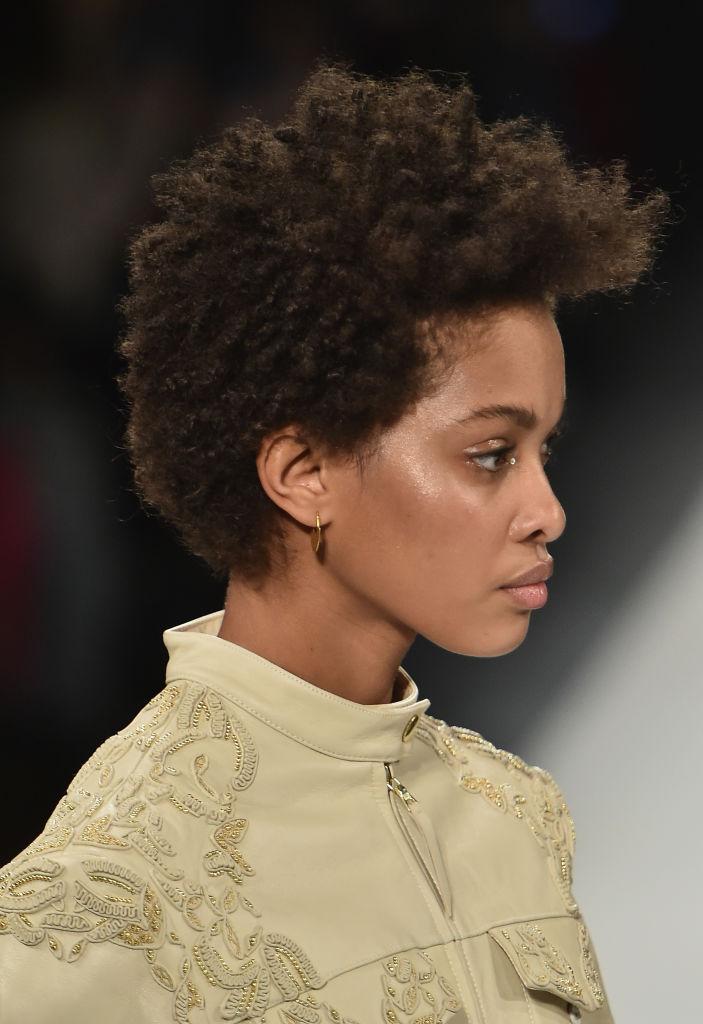 A model walks the runway in the Jonathan Simhkai fashion show