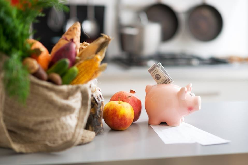 money in piggy bank next to bag of produce