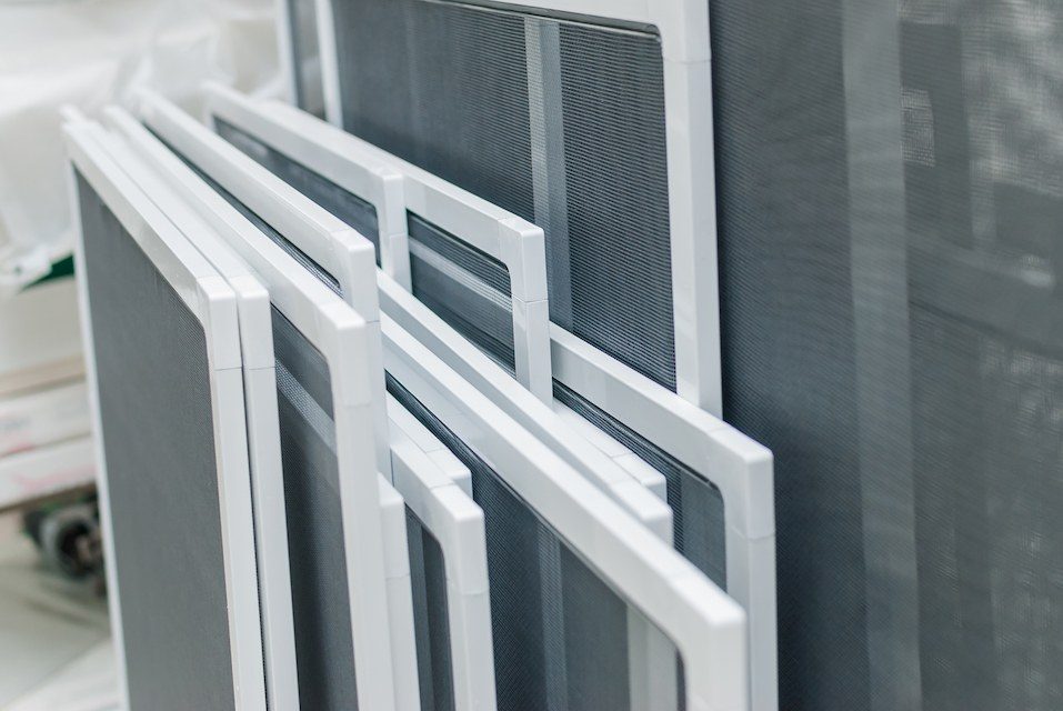 stack of window screens