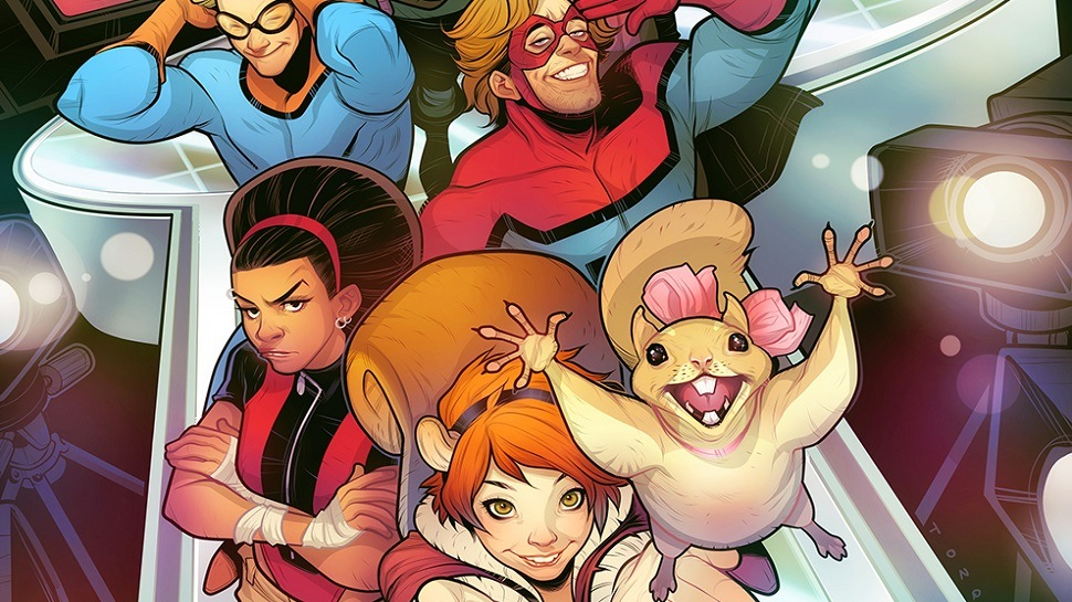 Squirrel Girl stands at the front of the pack of New Warriors in the Marvel comic