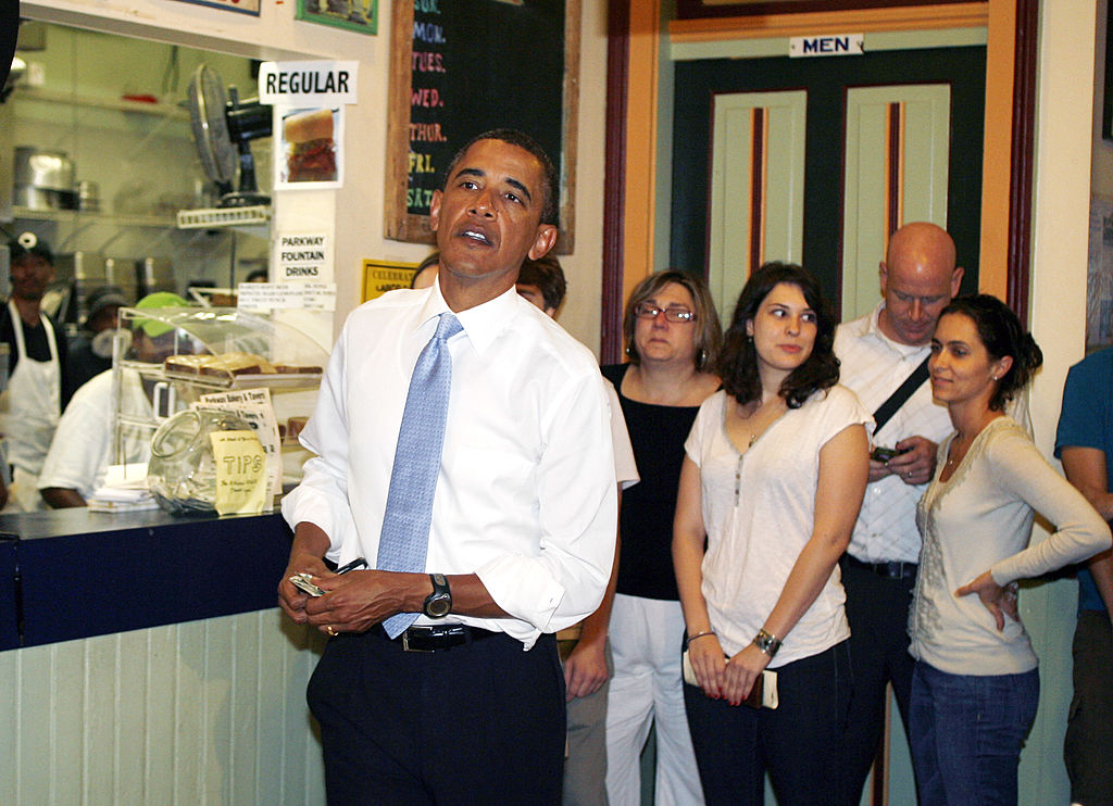 Barack Obama at a restaurant