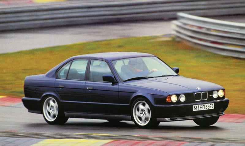 Shot of second-generation BMW M5 (1989-1995) on race track