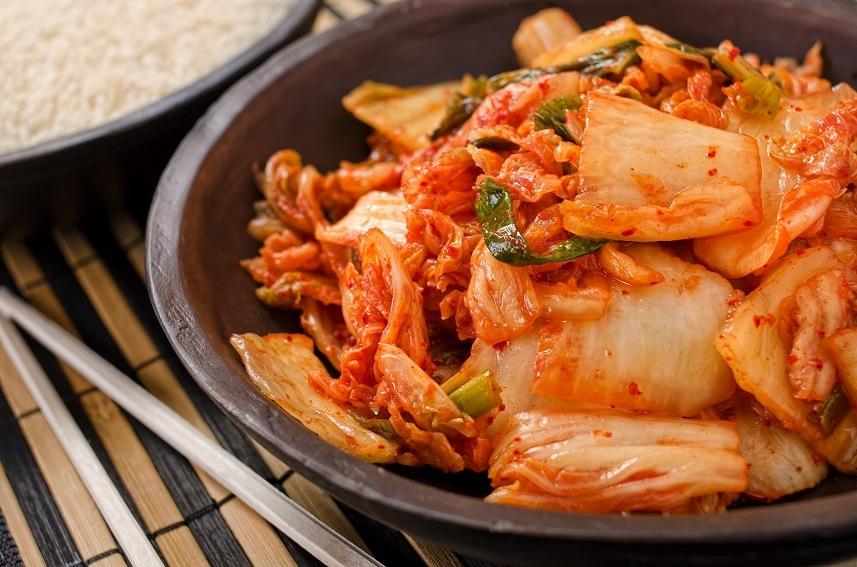 A bowl of traditional Korean napa kimchi