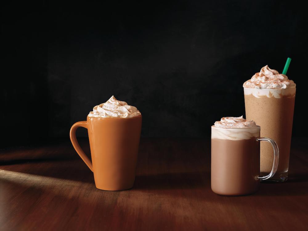 Pumpkin spice latte and chile mocha