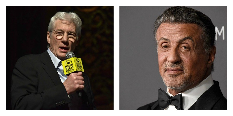 On the left is a picture of Richard Gere talking with a microphone. On the right is a closeup of Sylvester Stallone's face as he poses on the red carpet.