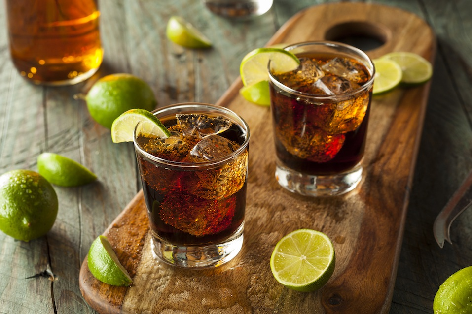 Rum and Cola Cuba Libre with Lime and Ice