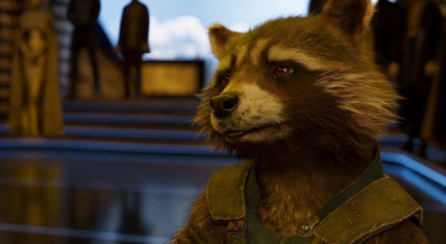 Rocket Raccoon looking to the left of the frame.