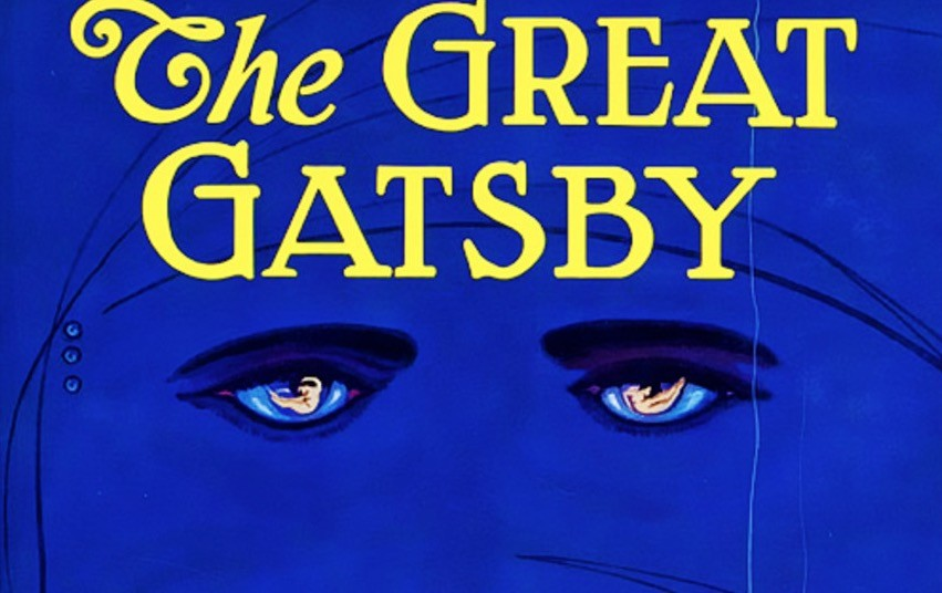 Blue cover art for The Great Gatsby, with a pair of heavily-lashed eyes