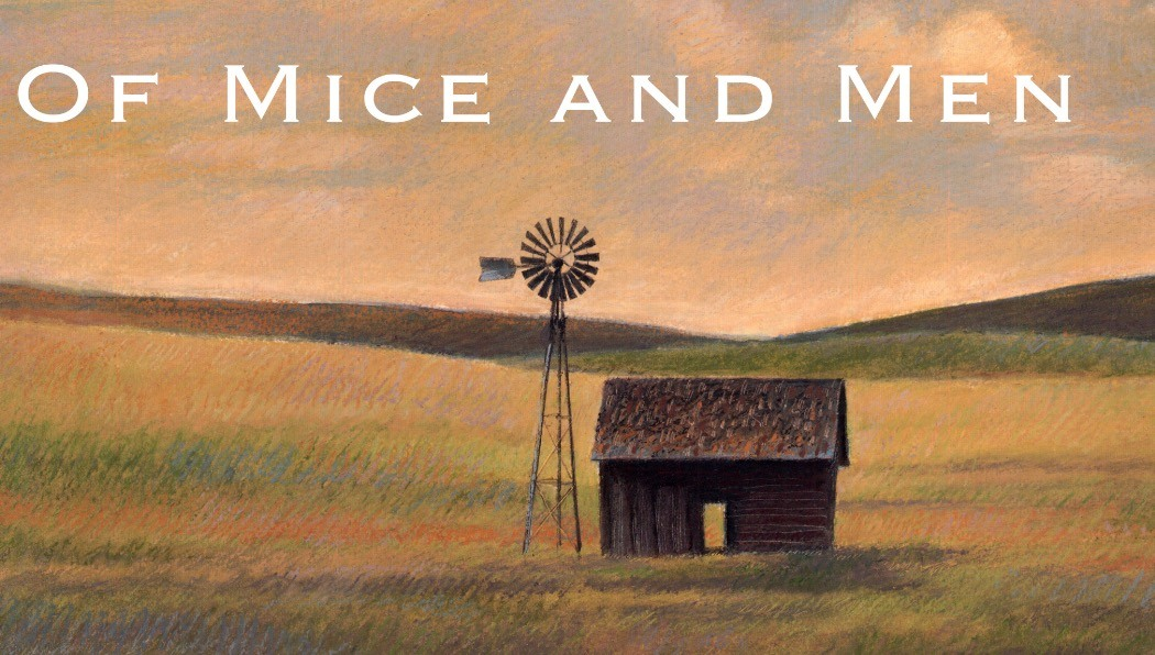 Of Mice and Men Cover Art, featuring a small brown farm house and a wind mill in a field