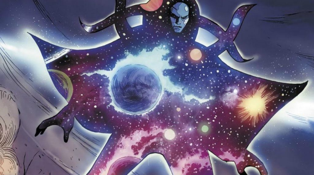 An alien with a galaxy printed across its body, towering above its enemies