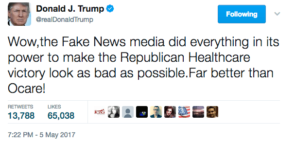 One of Trump's tweets about fake news
