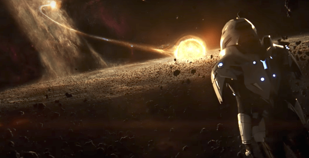 A person in a space suit, looking out over a sun surrounded by asteroids