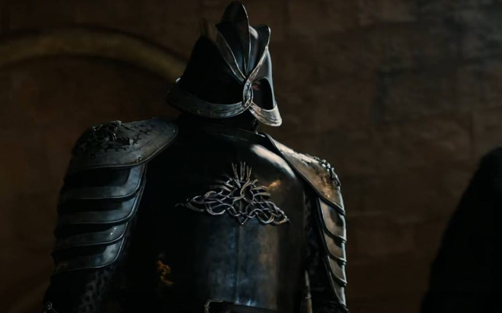 Gregor Clegane in full armor, standing tall and looking down