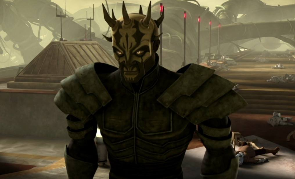 Darth Maul's brother, wearing black played armor, and looking menacingly off to the left of the frame