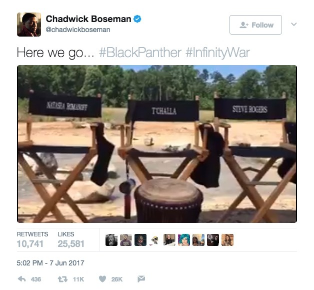 A Tweet from Chadwick Boseman on the set of Black Panther