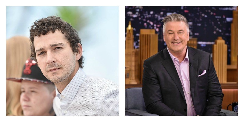 On the right is a picture of Shia LaBeouf in a white suit on the red carpet. On the right is a picture of Alec Baldwin sitting down and smiling.