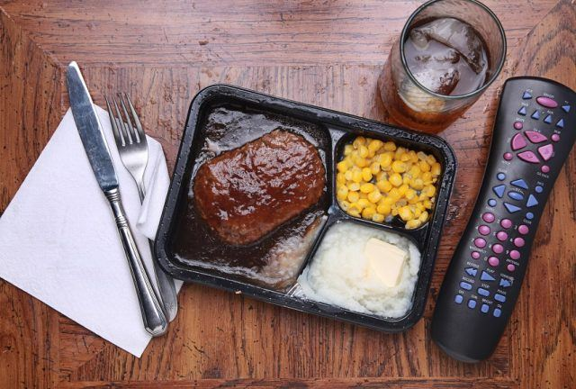 tv dinner on a tray
