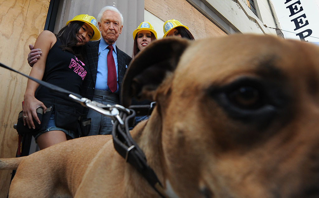 Bob Barker poses with animal-rights activists.