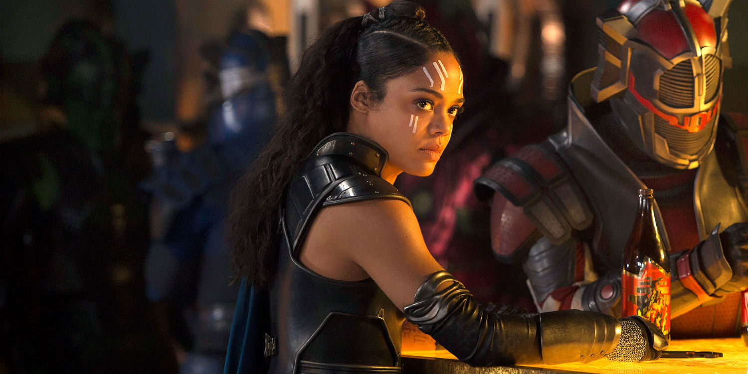 Tessa Thompson's Valykrie sits at a counter in Thor: Ragnarok