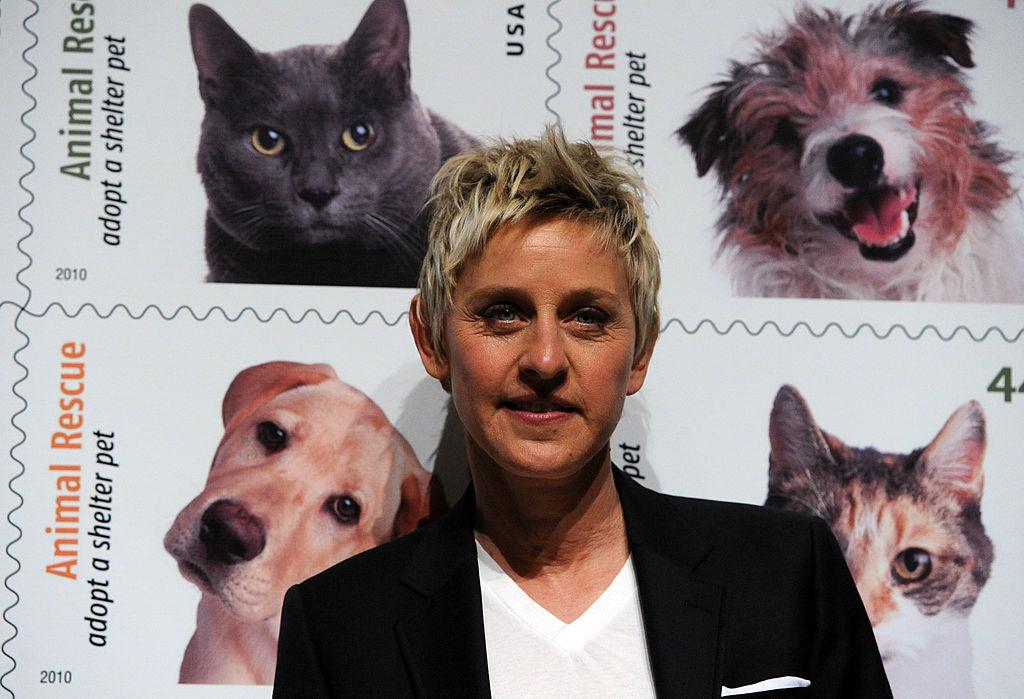 Ellen DeGeneres in front of animal rescue stamps