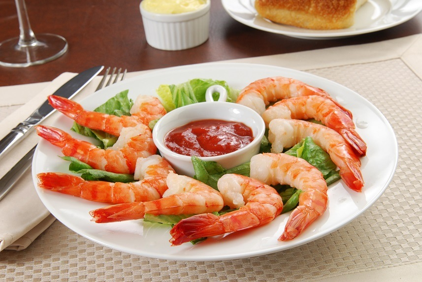 An appetizer plate of tiger shrimp