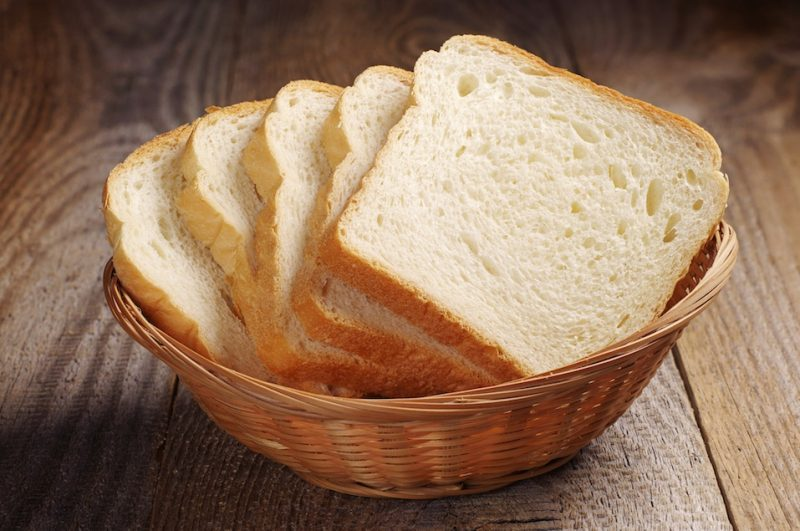White bread in a basket