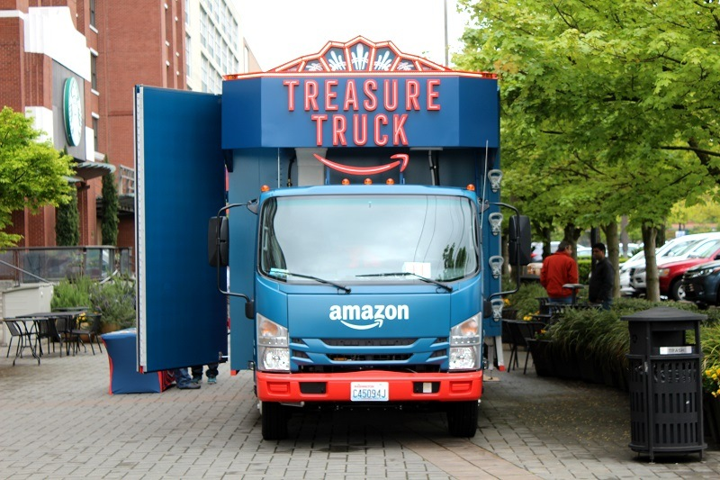 The Amazon Treasure Truck from the front