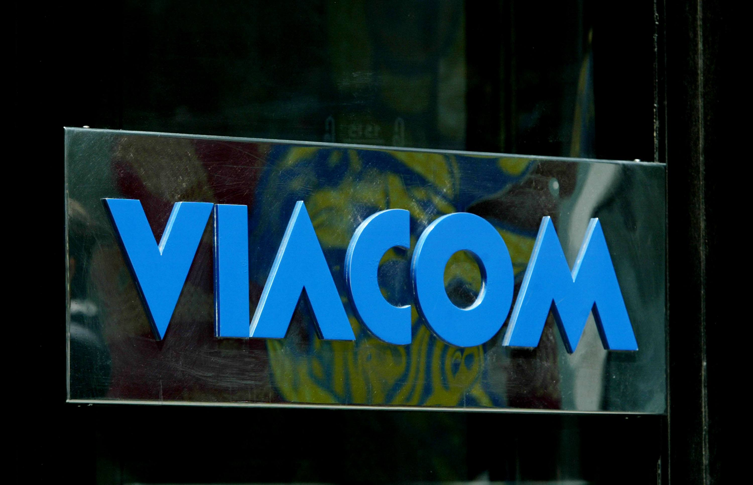 The Viacom logo is seen outside company headquarters