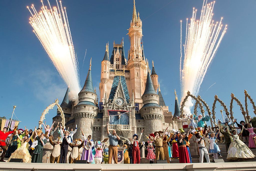 Walt Disney World Resort fireworks behind castle and characters