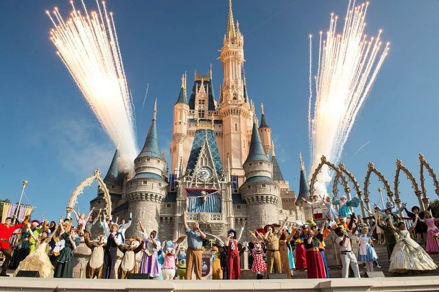 Walt Disney World Resort castle and characters with fireworks
