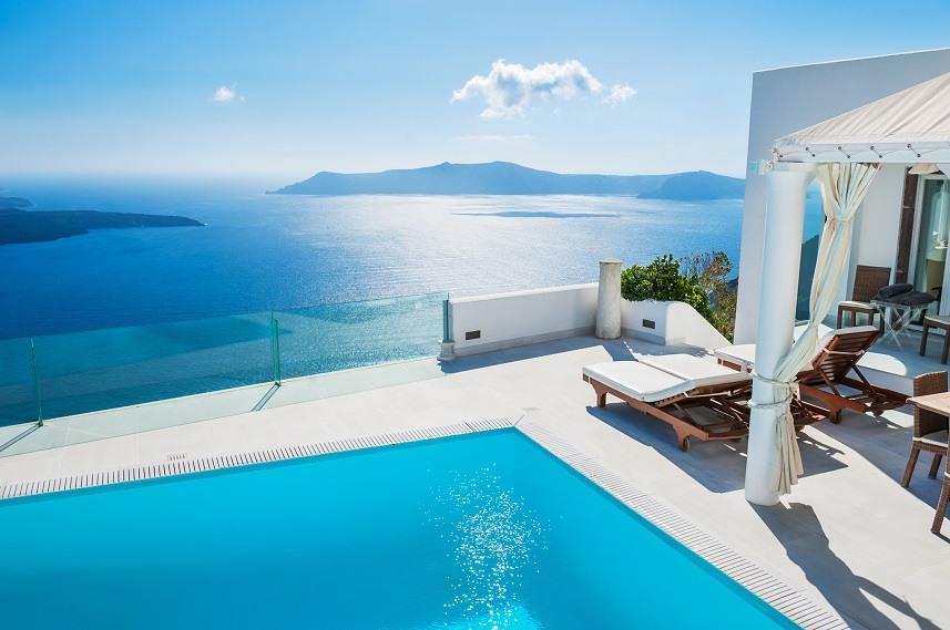White architecture on Santorini island
