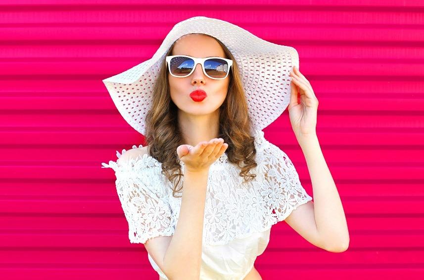 Woman in summer straw hat