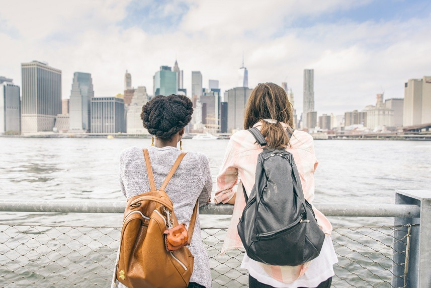 Two women looking at New York skyline