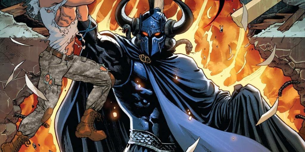 A cartoon image of comic book character Ares holding up an injured man