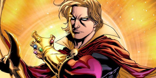 Adam Warlock, wearing a flowing cape, and wearing the Infinity Gauntlet.