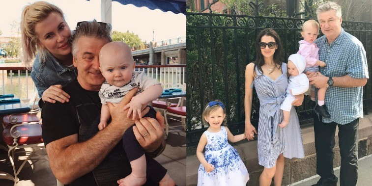 On the left Alec Baldwin poses with infant son and adult daughter, Ireland and right Alec and wife Hilaria pose with their three children