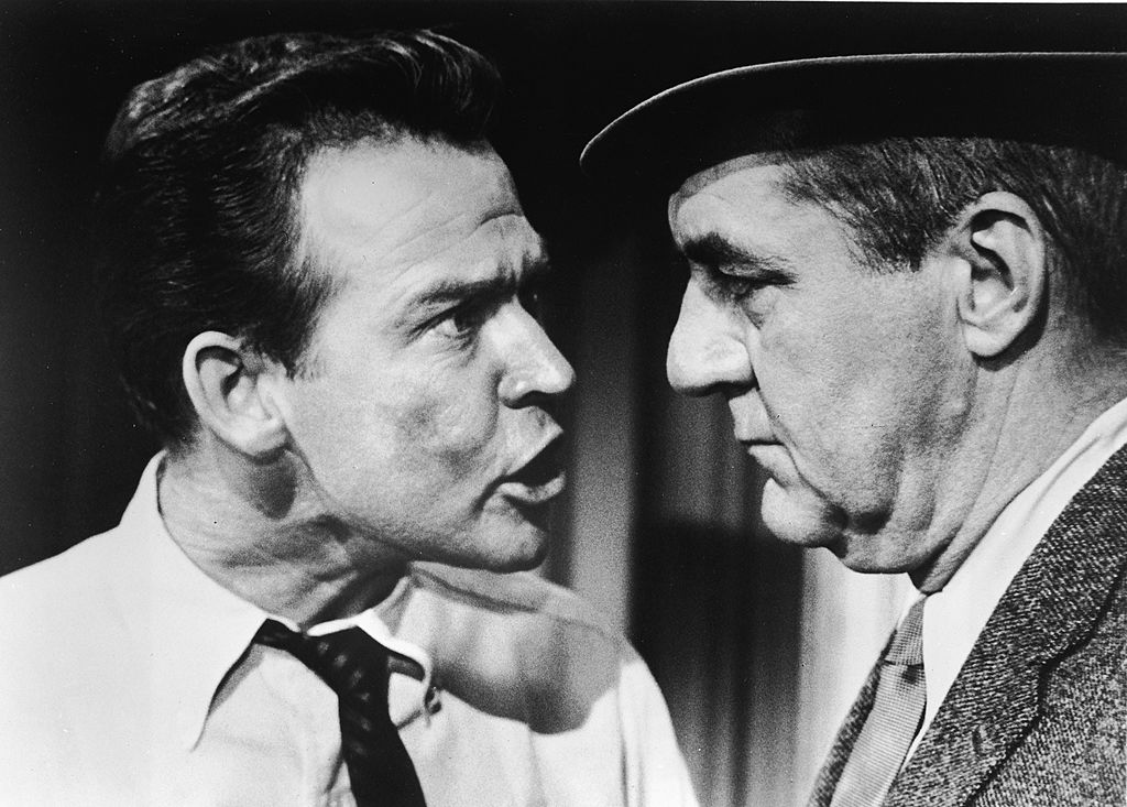 "An angry man confronts a colleague in a scene from ""The Jim Backus Show"""