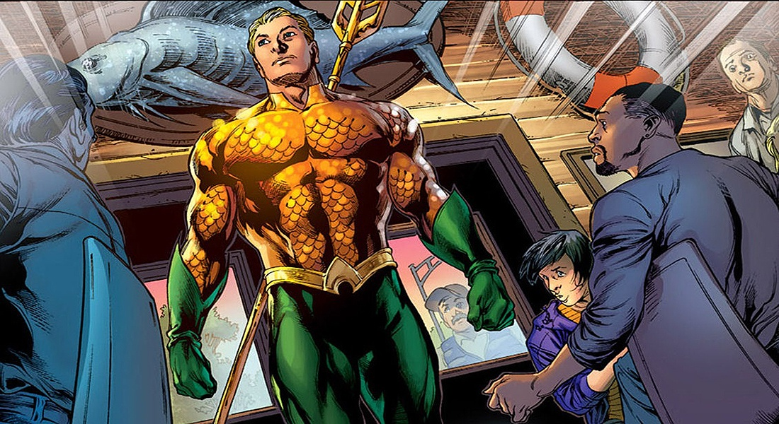 Comic book cartoon of Aquaman walking as people stare at him